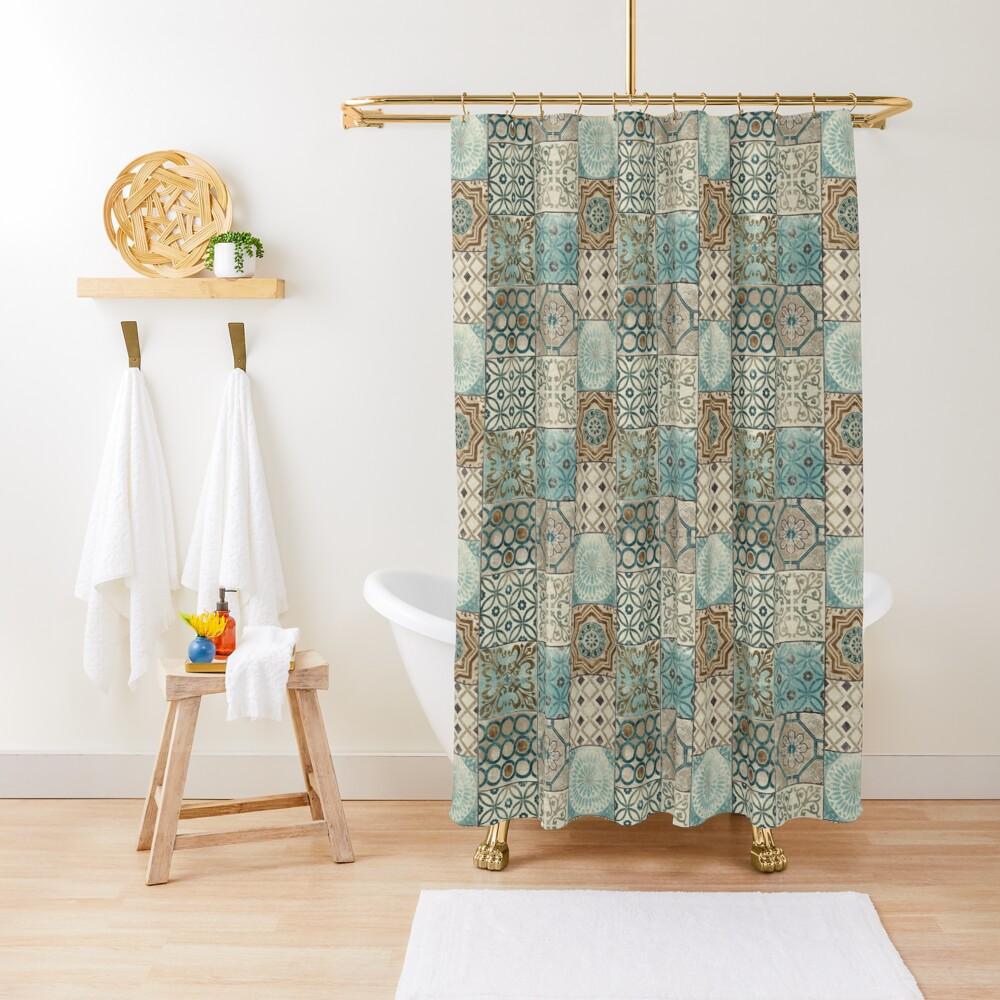 Vintage Oriental Traditional Moroccan Tiles Style Artwork  Shower Curtain
