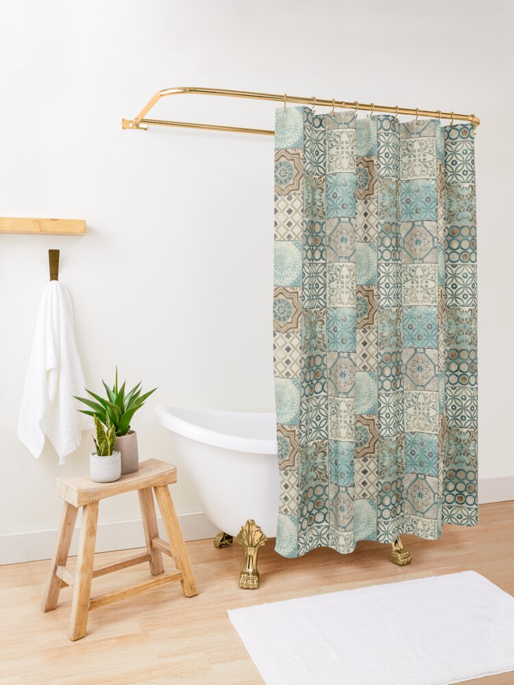 Alternate view of Vintage Oriental Traditional Moroccan Tiles Style Artwork  Shower Curtain