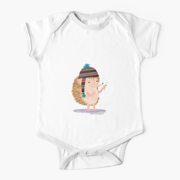 Hedgehog with flower Short Sleeve Baby One-Piece