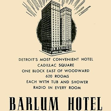 Barlum Hotel in Detroit Vintage Ad by krawlspace