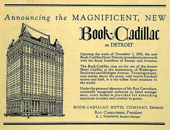 Vintage Detroit Ad for the Book Cadillac Hotel in 1926 by The Detroit Room