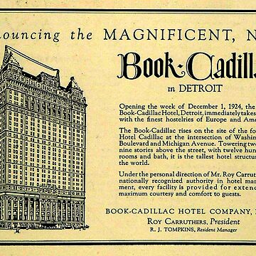 Vintage Detroit Ad for the Book Cadillac Hotel in 1926 by krawlspace