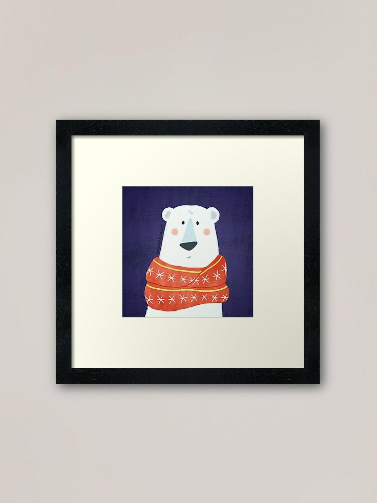 Alternate view of Polar Bear with scarf Framed Art Print