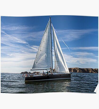 A sail boat off Alderney  Poster
