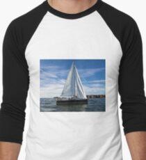 A sail boat off Alderney  Baseball ¾ Sleeve T-Shirt