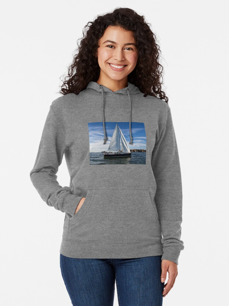 Alternate view of A sail boat off Alderney  Lightweight Hoodie