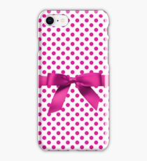 Pink Polkadot Ribbon iPhone Case/Skin