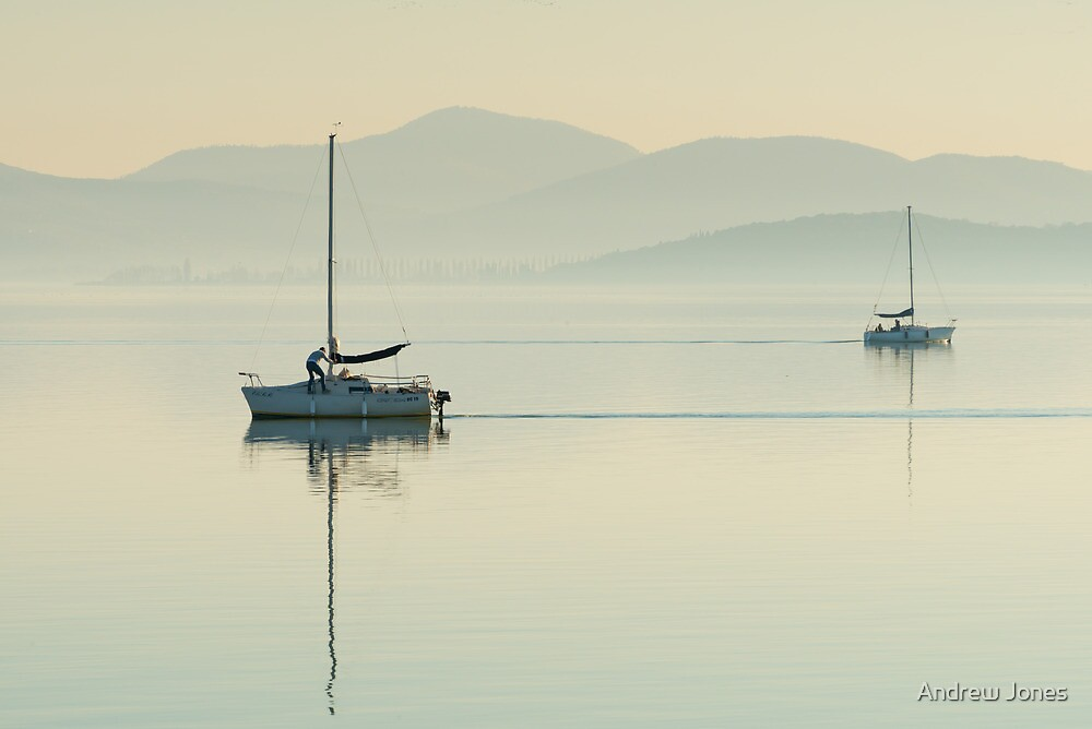 Passing Yachts, Passignano sul Trasimeno, Umbria by Andrew Jones