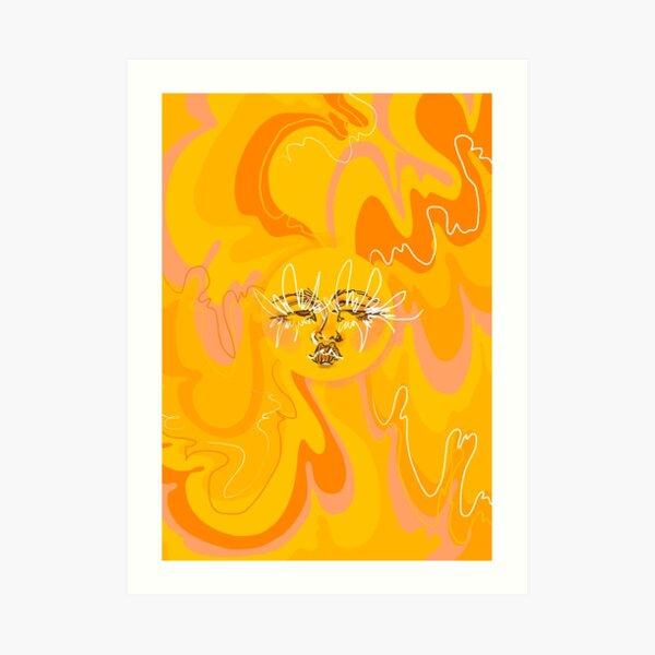 Trippy Orange and Yellow 60's/70's Inspired Sun  Art Print