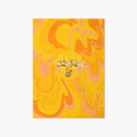 Trippy Orange and Yellow 60's/70's Inspired Sun  Art Board Print