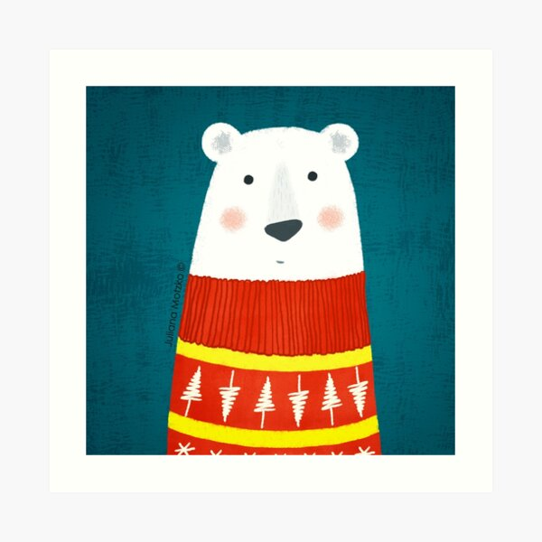 Polar Bear with Sweater Art Print