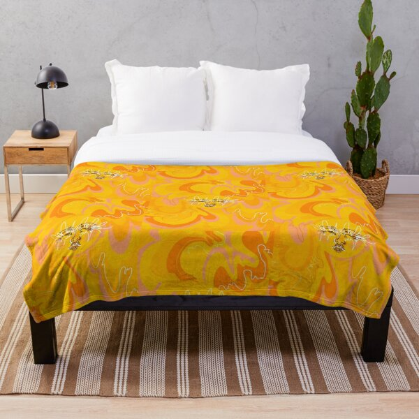 Trippy Orange and Yellow 60's/70's Inspired Sun  Throw Blanket