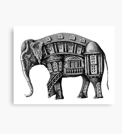 Elephant Building surreal pen ink black and white drawing Canvas Print