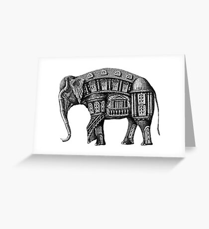 Elephant Building surreal pen ink black and white drawing Greeting Card