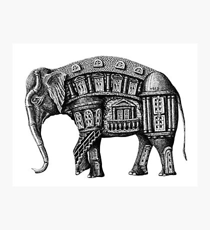 Elephant Building surreal pen ink black and white drawing Photographic Print