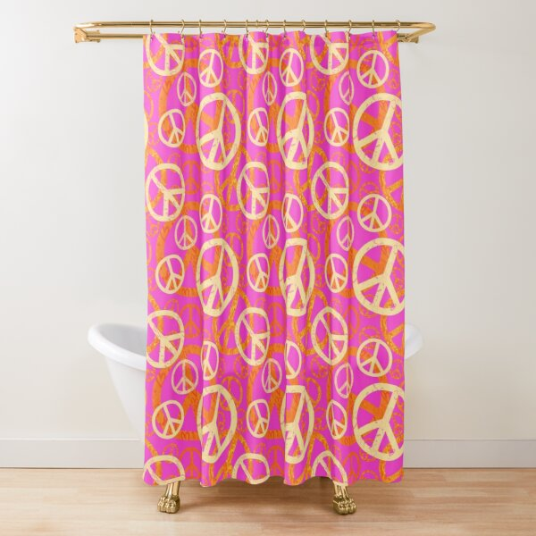 Peace Symbol Pattern in Orange and Pink Shower Curtain