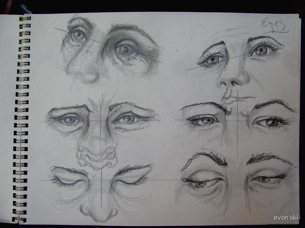 eyes sketch by evon ski