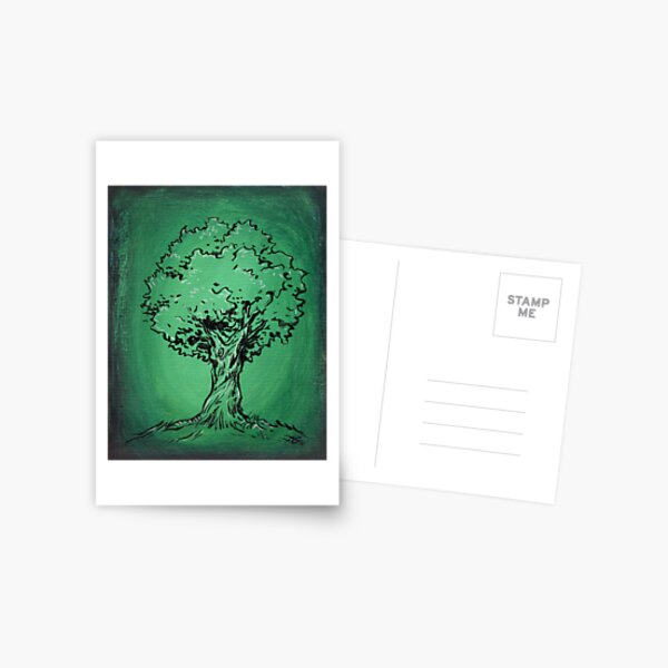 Solitary Tree in Green Postcard