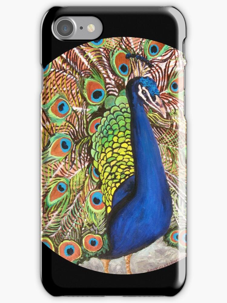 """Auntie Jo's Urban Peacock."" by amyglasscockart"