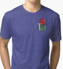 T is for Tulip - patch Tri-blend T-Shirt