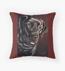 """""""Signature Grin"""" Portrait Of A Black Lab Throw Pillow"""