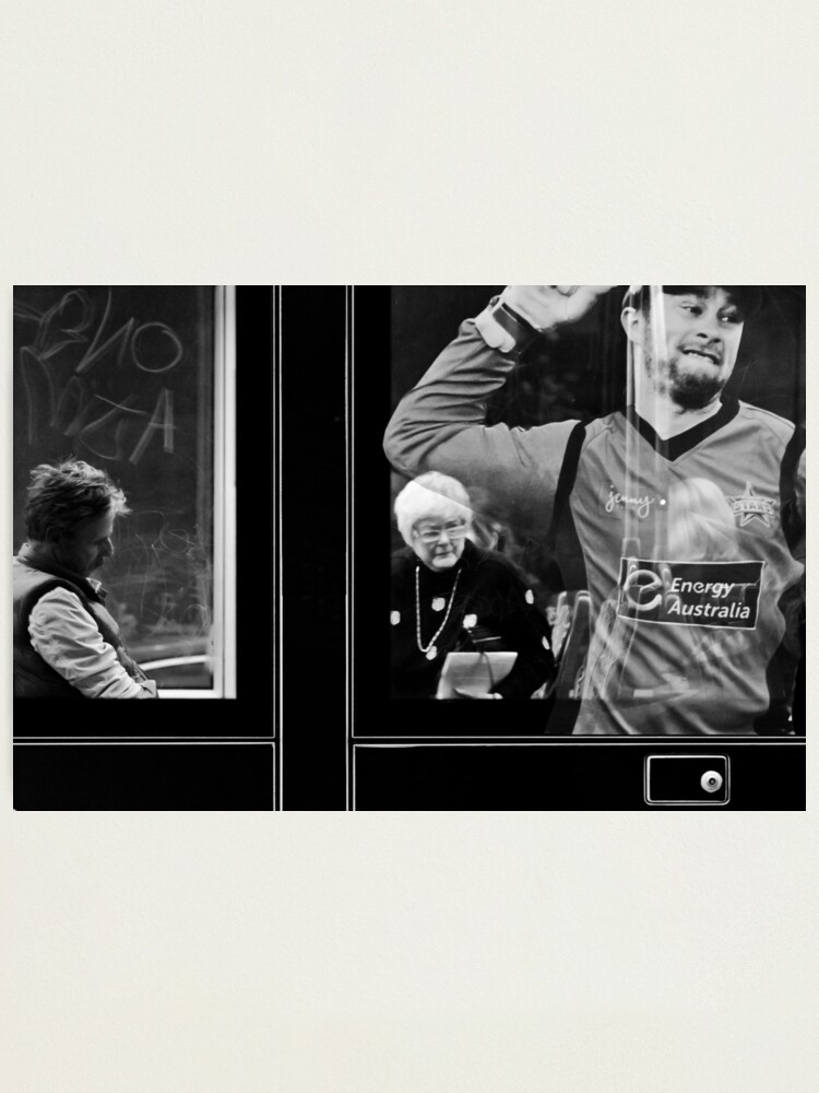 Alternate view of Life inside, outside and onside of a tram... Photographic Print