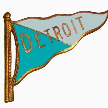 Vintage Detroit Flag Souvenir by krawlspace
