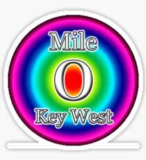 MILE 0 ZERO - KEY WEST FL FLORIDA RAINBOW Sticker