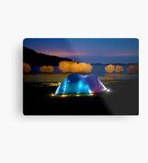 Illuminated tent on dam Metal Print