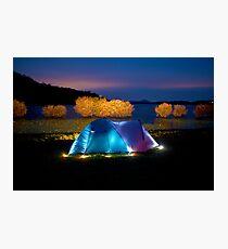Illuminated tent on dam Photographic Print