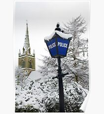 Traditional english police station blue lamp Poster