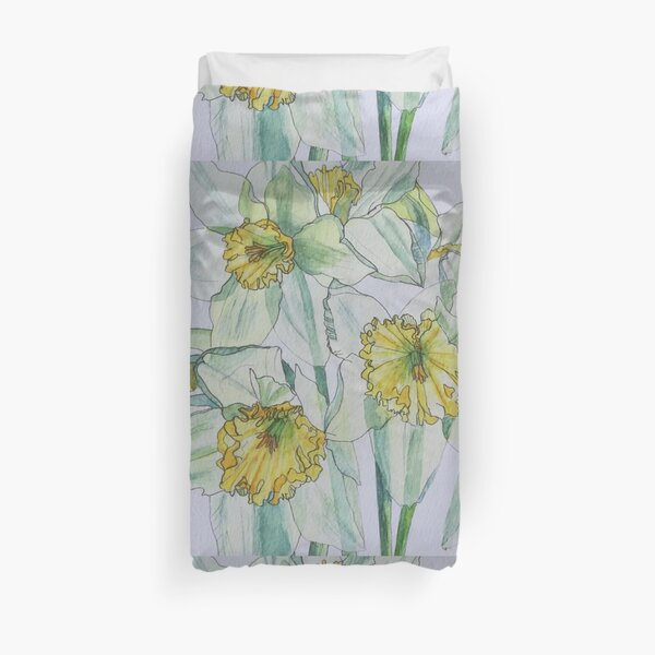 Daffodils watercolour painting Duvet Cover