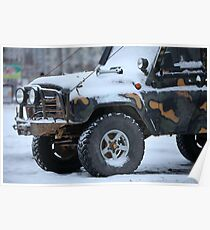 SUV in snow Poster