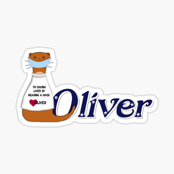 Oliver the Otter Wears a Mask Glossy Sticker