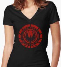 Frak Earth / So Say We All - BSG Women's Fitted V-Neck T-Shirt