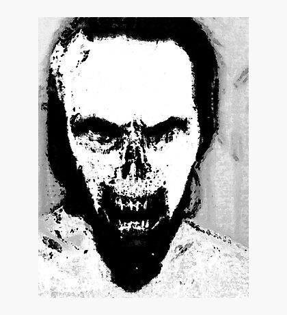 Black and White Zombie Portrait Photographic Print