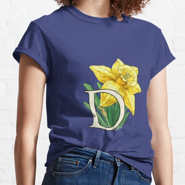 D is for Daffodil Flower Monogram Floating Classic T-Shirt