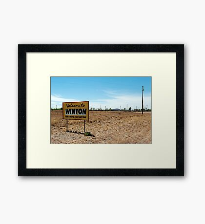 welcome to winton Framed Print