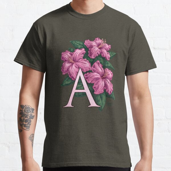 A is for Azalea Flower Monogram Floating Classic T-Shirt