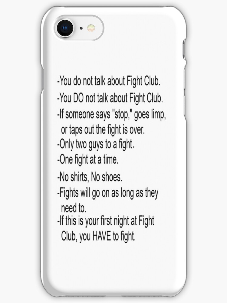 Fight Club Rules iPhone Case by slkr1996