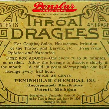Vintage Detroit Throat Dragees Tin Cover ca. 1910 by krawlspace