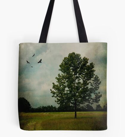Lone Tree with Birds Tote Bag