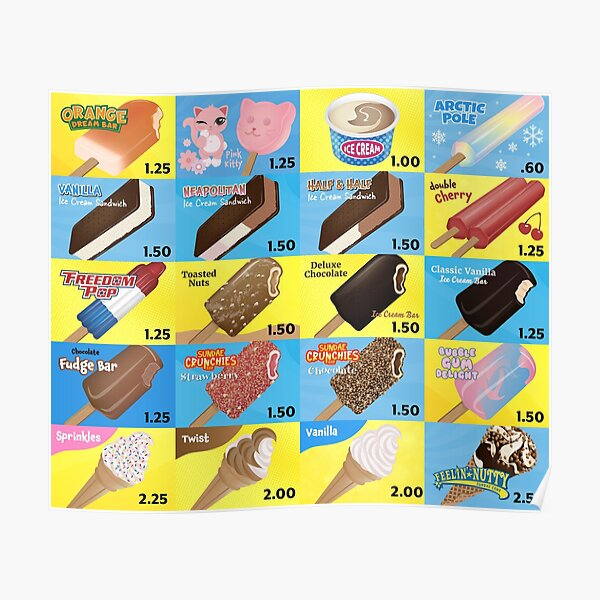 Ice Cream Truck Menu Poster
