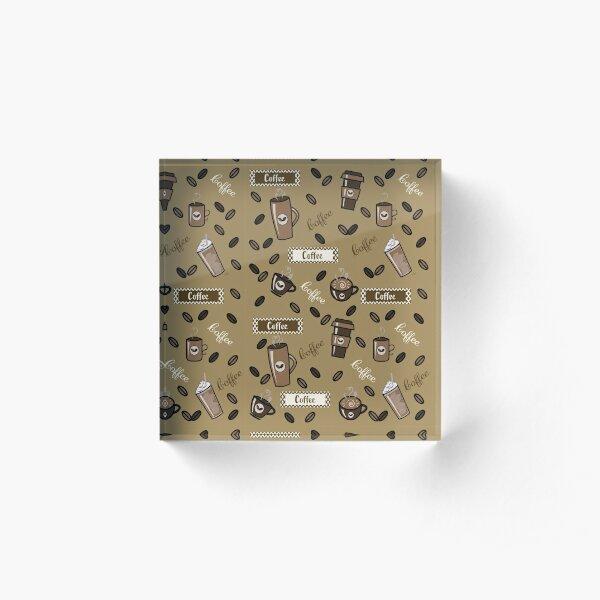 Coffee cups pattern Acrylic Block