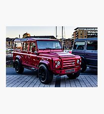 Red Carbon Fibre Bodied LandRover Photographic Print