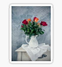 rose flowers in old-fashioned flower pot Sticker