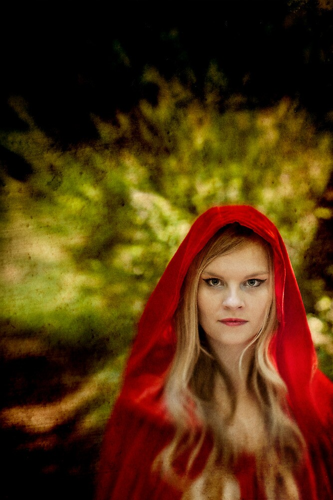 Red Cloaked Woman by Sharonroseart