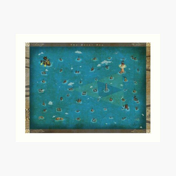 Zelda Wind Waker World Map Art Print