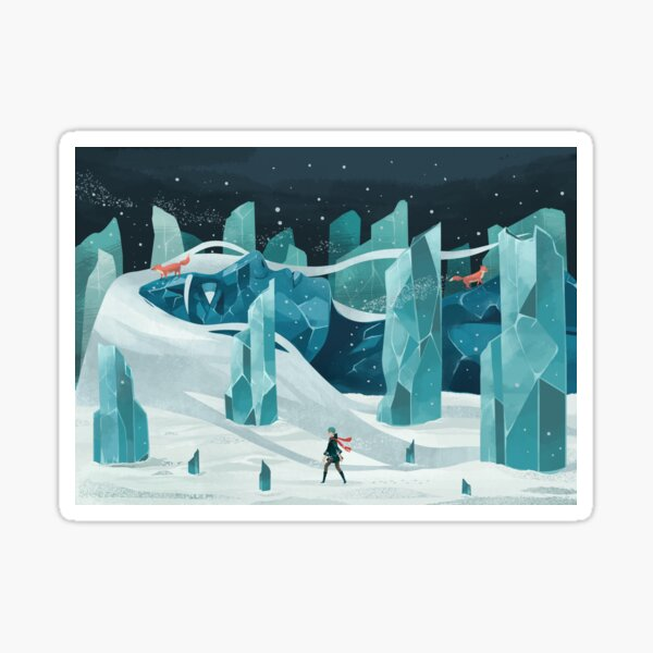 The wanderer and the ice forest Sticker