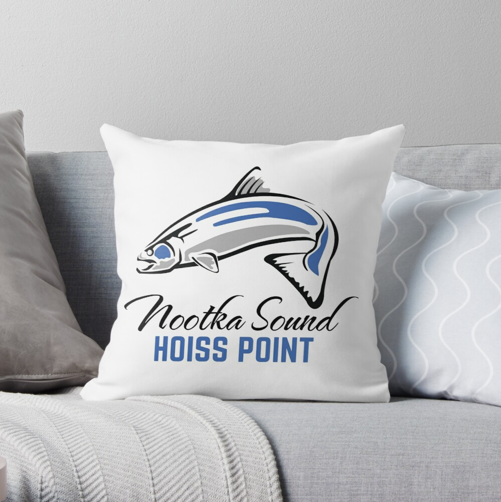 Hoiss Point - Nootka Sound - Salmon Logo Throw Pillow